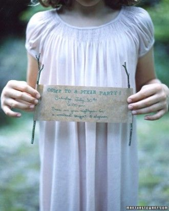 Handmade invitations for a pixie or fairy party. Love this theme idea!