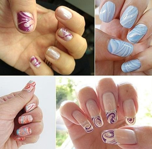 Gorgeous Water Marble Nail Art