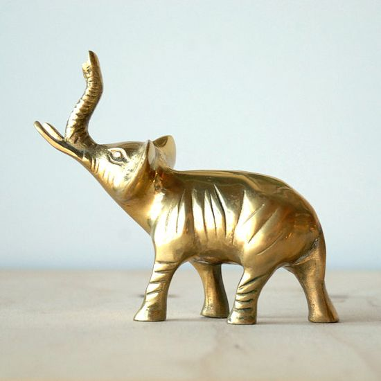 Vintage Brass Elephant With Tusks Figurine Statue Mid Century Modern Home Decor