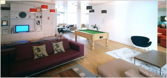 Skype's London Office.  We can't decide between foosball table or pool table