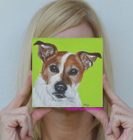 Original acrylic painting dog Dog art Pop by PopArtPetPortraits, $75.00