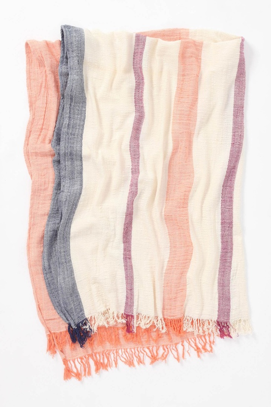 Crinkled stripe throw - love the coral!