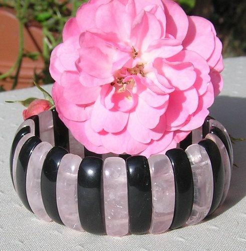 Rose Quartz & Black Onyx Gemstone Elasticated by SunnyCrystals, £12.75
