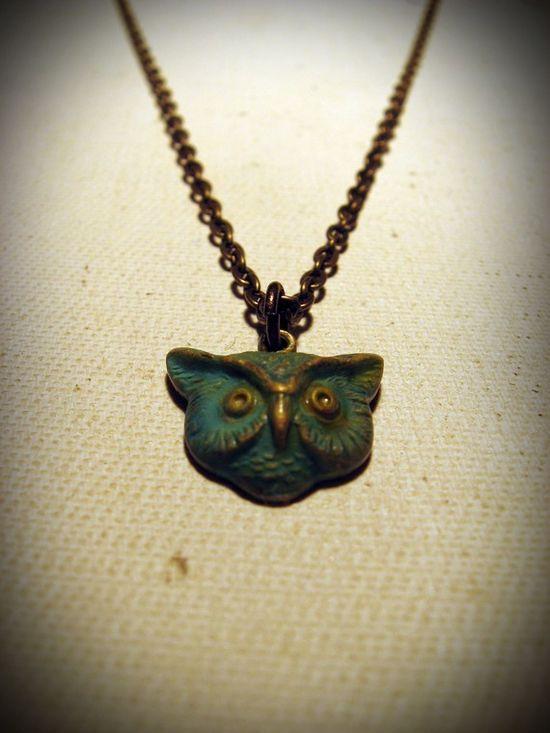 Patina Mr. Owl Necklace via Etsy