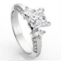 0.50 Carat (Ctw) 14k White Gold Princess & Round Diamond Ladies 3 Stone Bridal Semi Mount Ring Engagement 1/2 Ct (No Center Stone)
