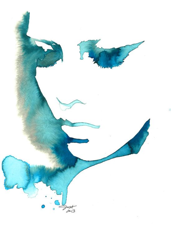 Blue Girl print from original watercolor by by JessicaIllustration, $26.00 #blue #watercolor #painting #art