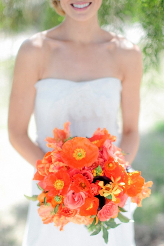 a pop of yummy orange does a bouquet good  Photography by troygrover.com/ Floral Design by invitingoccasion....