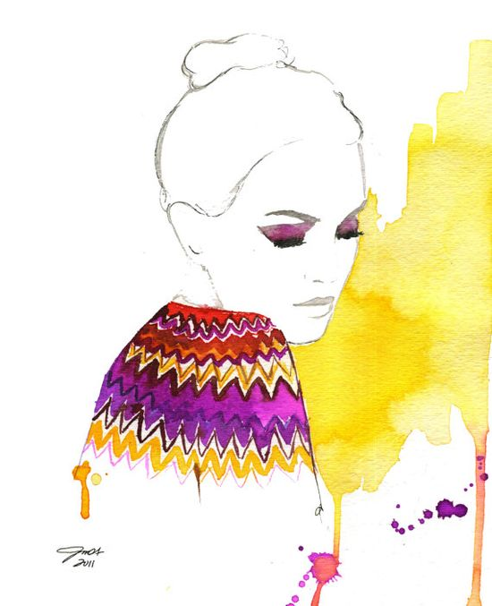 Watercolor Fashion Illustration  Chevron  by JessicaIllustration, $25.00