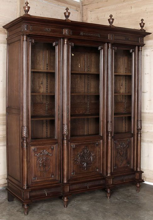 Antique French Louis XVI Walnut Triple Bookcase
