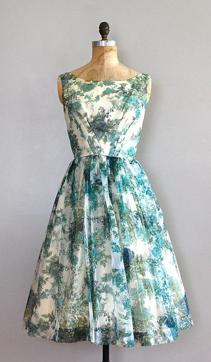 Dear Golden Vintage, 1950's aqua and white floral dress with a full skirt