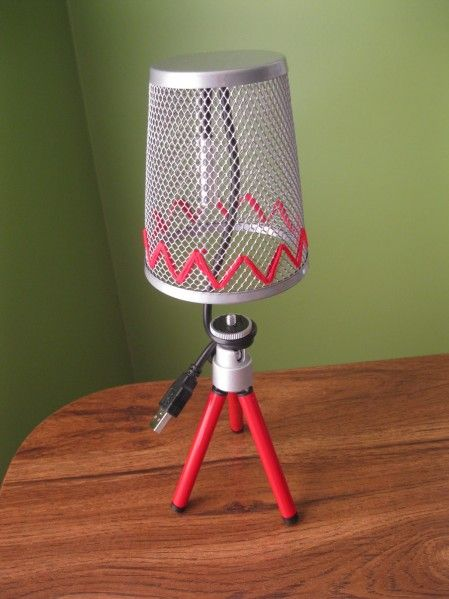 USB desk lamp made from dollar store items