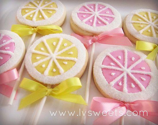 Lemon cookie pops. Very cute.