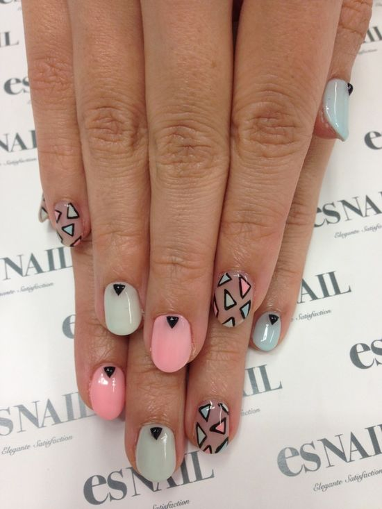 #nail #unhas #unha #nails #unhasdecoradas #nailart #gorgeous #fashion #stylish #lindo #cool #cute #fofo #black #preto #pastel #pink #rosa #blue #azul #triangulo #triangle #geometric #geometrico nails