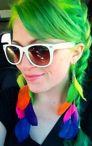 Neon hair, earrings.