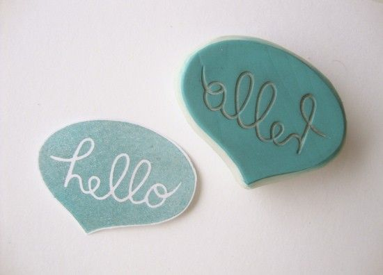 Hello Hand Carved Rubber Stamp @eatpraycreate #illustration #handmade #rubber #stamp #carved #hello #word #speech #bubble