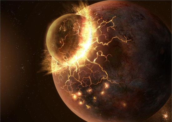 Frédéric Moynier and his team at Washington University in St. Louis have discovered evidence that the Moon was created when a planetary body the size of Mars smashed into the Earth about 4.5 billion years ago. The image is an artist's impression of the collision between Theia and the proto-Earth. www.sciencedaily.... Image credit: Fahad Sulehria