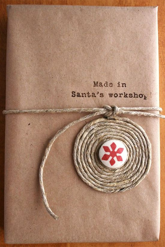 Made in Santa's Workshop. #christmas #twine #snowflake #kraft #paper #gift #wrapping #presents #packaging