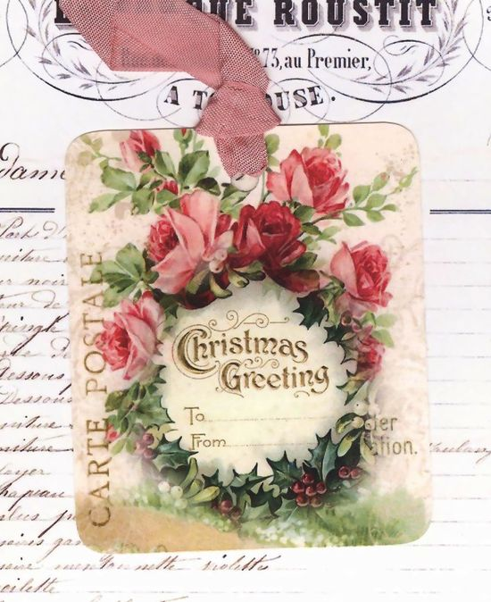 Christmas Gift Tags  Shabby Style Pink Roses by Bluebird Lane
