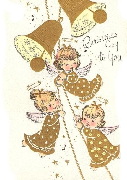 Vintage Christmas Card Cute Little Angels