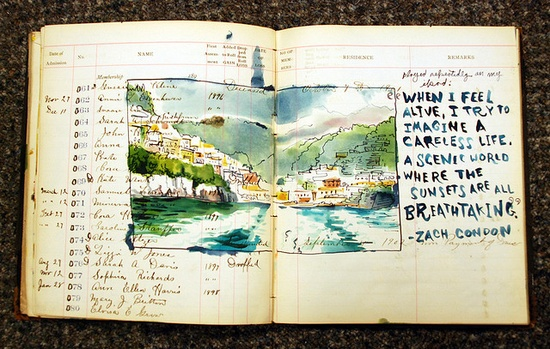 by Sketchbuch, old ledger book turned into a sketchbook  #book, #book_art, #watercolor
