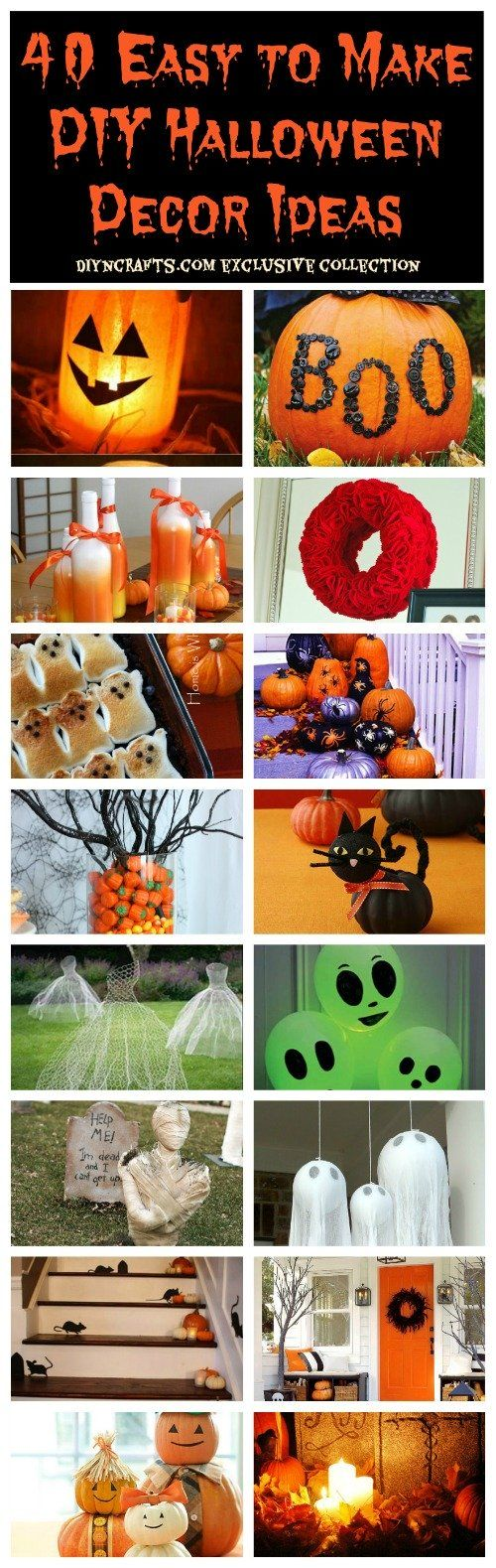 40 Easy to Make DIY Halloween Decor and Organizing Ideas! Really there are decor that could be used in as just FALL not only Halloween! But these are some great ideas if you are stumped for some easy DIY ideas! For some cool containers, plants or even ribbon and fresh flowers call H&J Florist and Greenhouses in St Joseph MI 269-429-3621