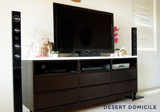 Old dresser turned TV cabinet