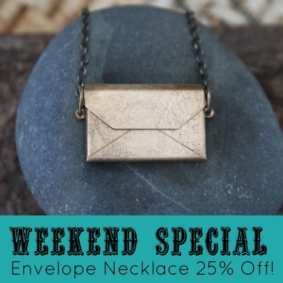 Weekend Special: The Secret Note Envelope Necklace is 25% off this weekend. It's the perfect spot for secret messages, little poems, or a favorite quote. Find it here: www.etsy.com/...