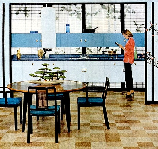 Kitchen (1955)  Kitchen and dining room (flooring ad)