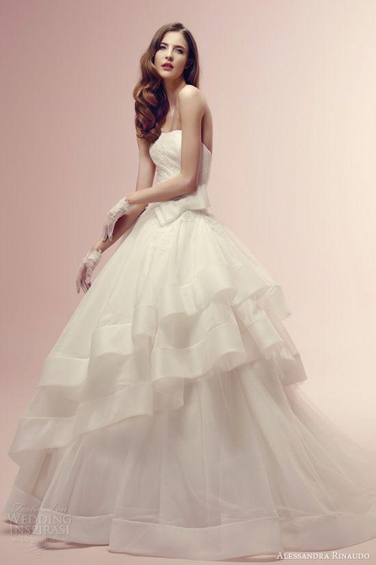 alessandra rinaudo wedding dresses 2014 rin strapless ball gown asymmetric tier skirt