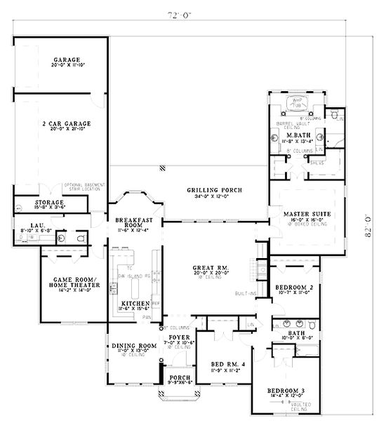 First Floor Plan of European   House Plan 61260. This one could be modified, take out wall between kitchen and great room making kitchen bigger, also use some of that room to make laundry into mudroom as well. Do away with bedroom next to master and move  walk in robe.