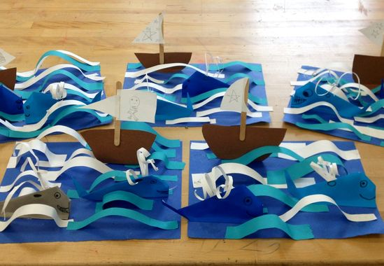 Origami Whales with boat in 3D ocean- elementary art(art teacher: v. giannetto)