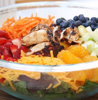 Must REPIN!  Skinny Grilled Chicken and Fruit Salad..seriously amazing!