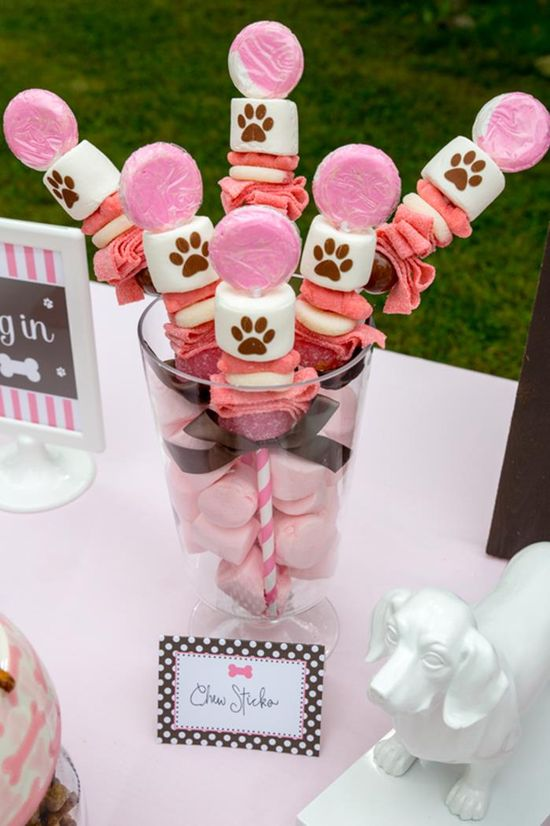 Too cute! Chew Sticks at a Pink Puppy Party Full of Darling Ideas Ideas via Kara's Party Ideas