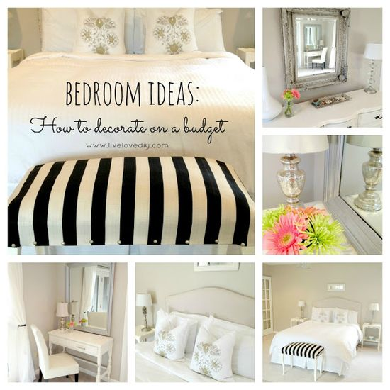 Budget Bedroom Decorating Ideas. Love her style!