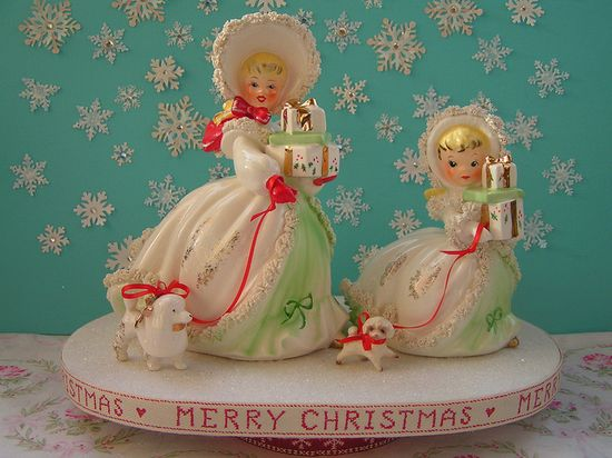 Vintage Christmas figurines with little dogs. So cute! #decorations #vintage #cute #Christmas
