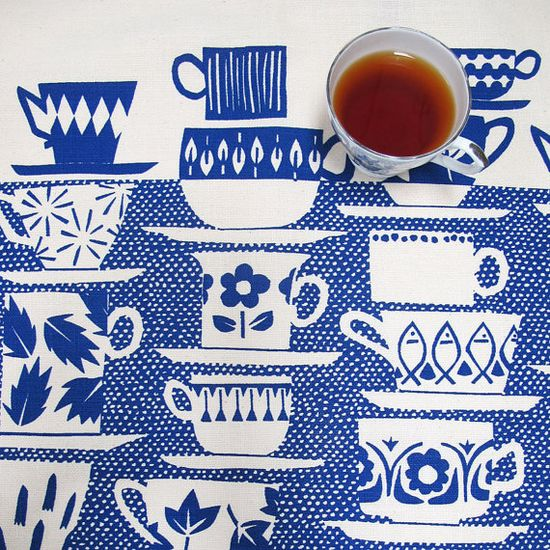 Tea towel - Everyone Came to Tea, in china blue...by skinnylaminx on etsy