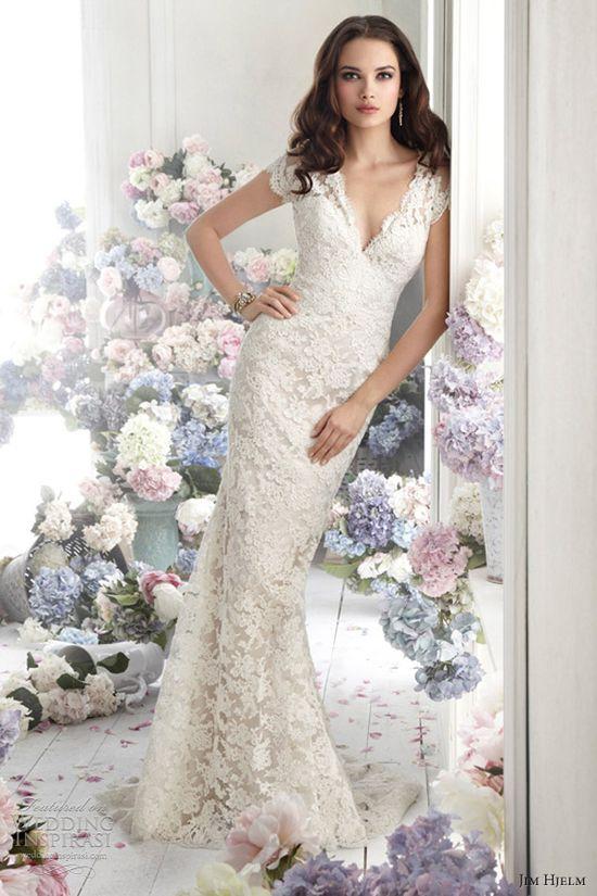 jim hjelm fall 2012 bridal lace charmeuse a line wedding dress 8252 v neckcap sleeve sheer back sweep train