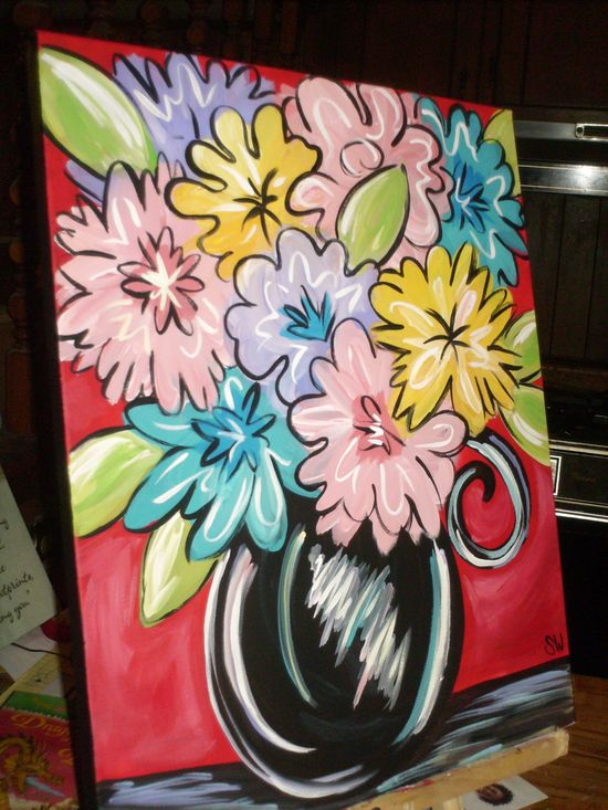 Flowers for paint party