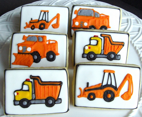 construction decorated cookies