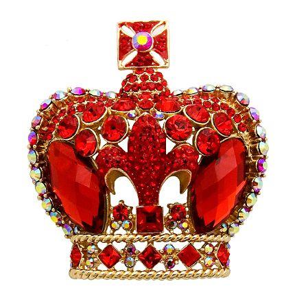 Crystal Fleur De Lys Crown Brooch from butlerandwilson.co.uk