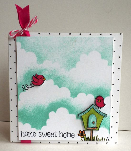 Perfect card to welcome a new family to the neighborhood! Lawn Fawn - Home Sweet Home - really cute card by Katie!