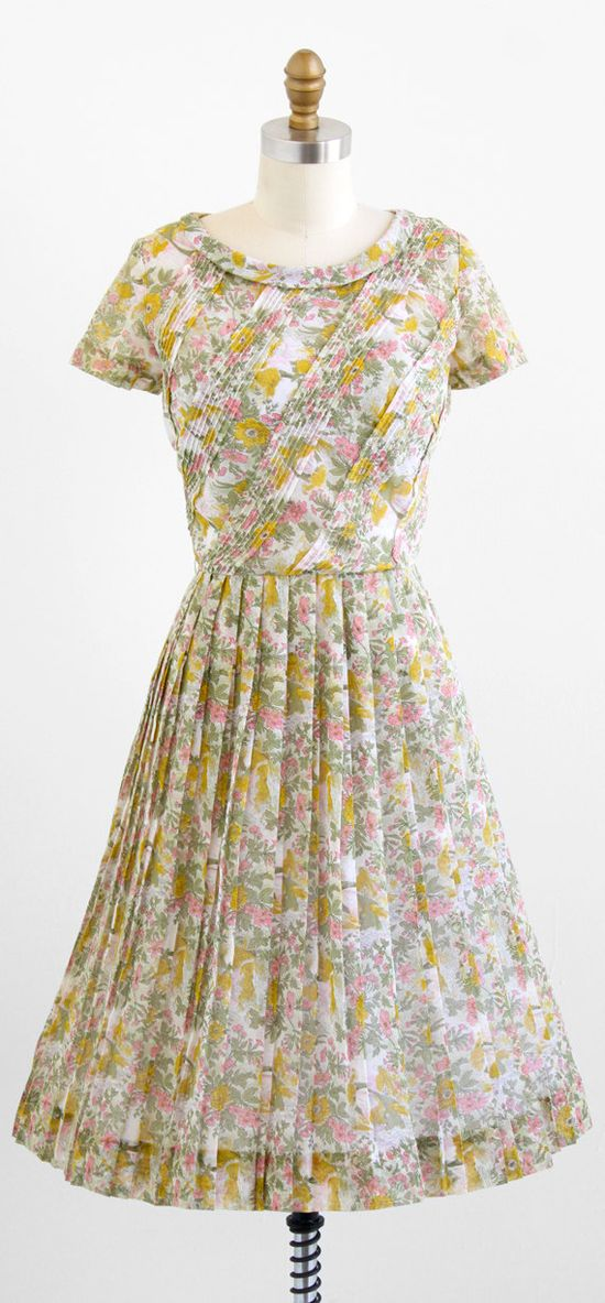 vintage 1950s pink + yellow floral day dress