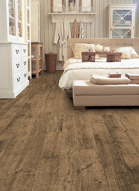 love this bedroom - and love the wide plank rustic flooring!