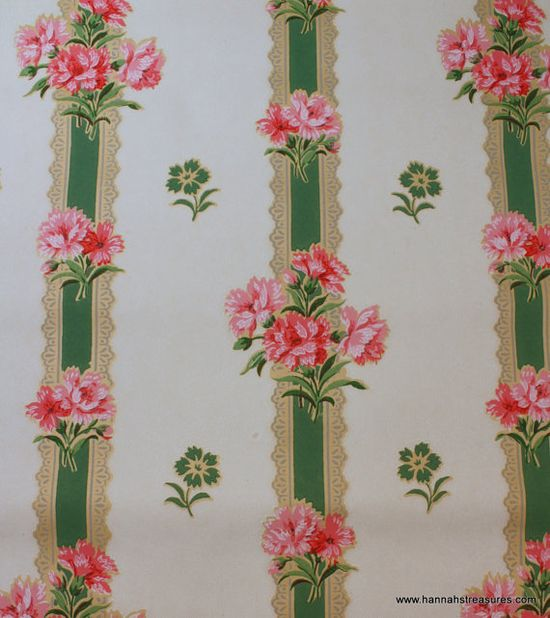 1940's Vintage Wallpaper Green Lace Stripe by HannahsTreasures, $14.00