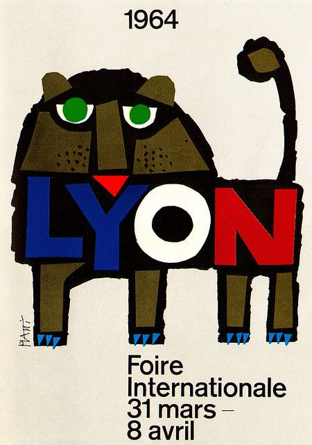 Celestino Piatti illustration.Poster for an international fair in Lyons, France. From Graphis Annual 64/65.