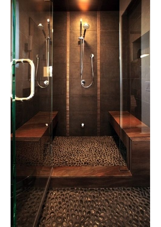 Walk-in shower with pebble stone floors and bench seats ~ bathroom idea - Home and Garden Design Ideas