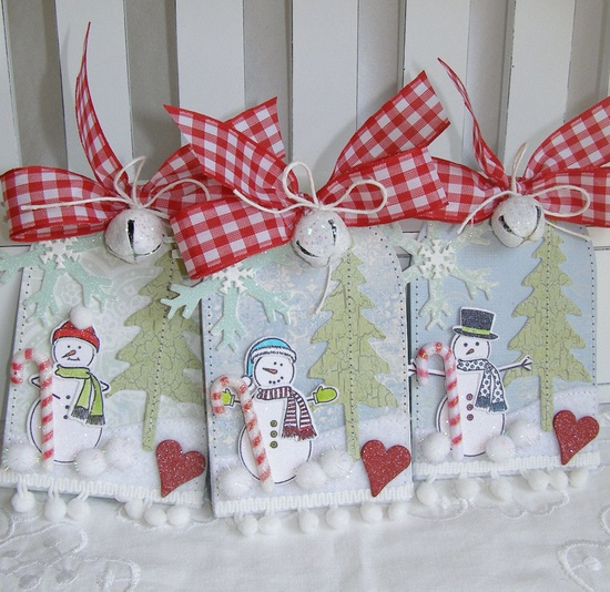 Shabby Chic Snowman Candy Cane Christmas Gift Tag Set. $7.95, via Etsy.