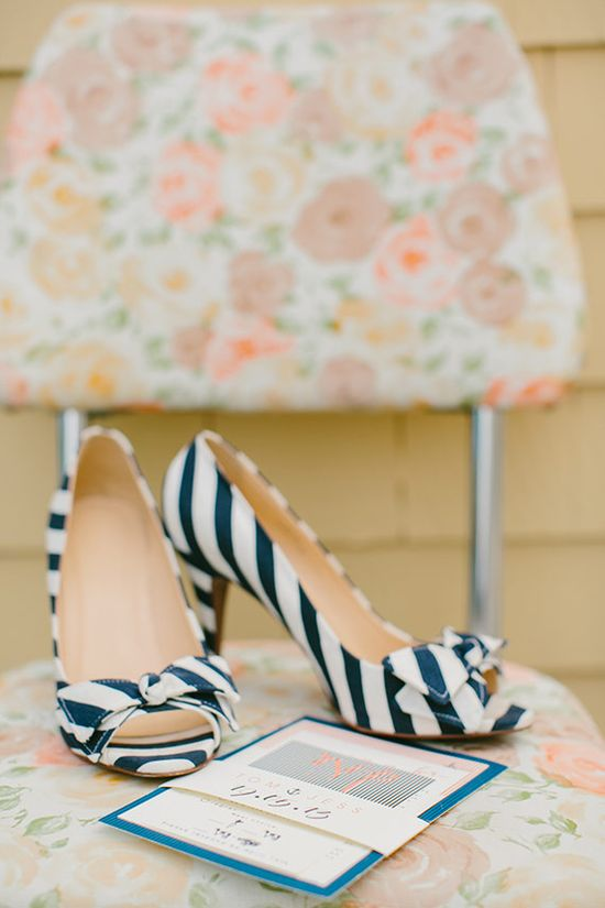 Striped wedding shoes