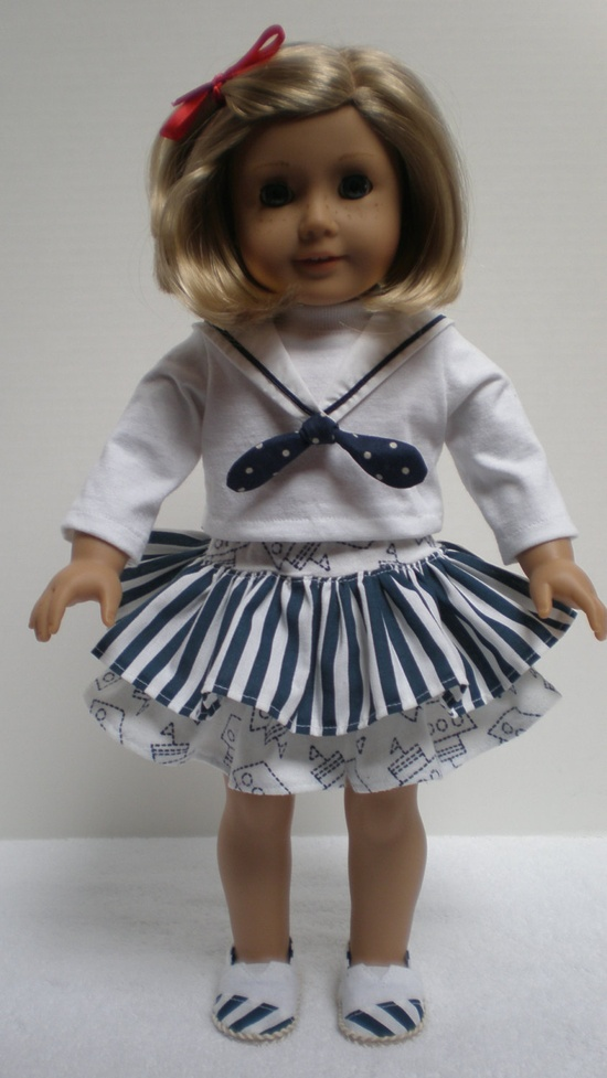 RUFFLED SKIRT (Navy Blue & White) American Girl 18 inch doll. $11.00, via Etsy.