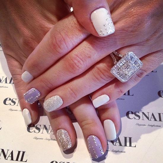 Purple, white and glitter base w/ silver studs nails :))  #nail #esnail #melrose #japanese #la #gelnail #salon #purple #white #silver #stud - @esnail_la-